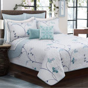 New Floral 3-Piece Bedding 100% Polyester Quilt Set •Reversible •Queen